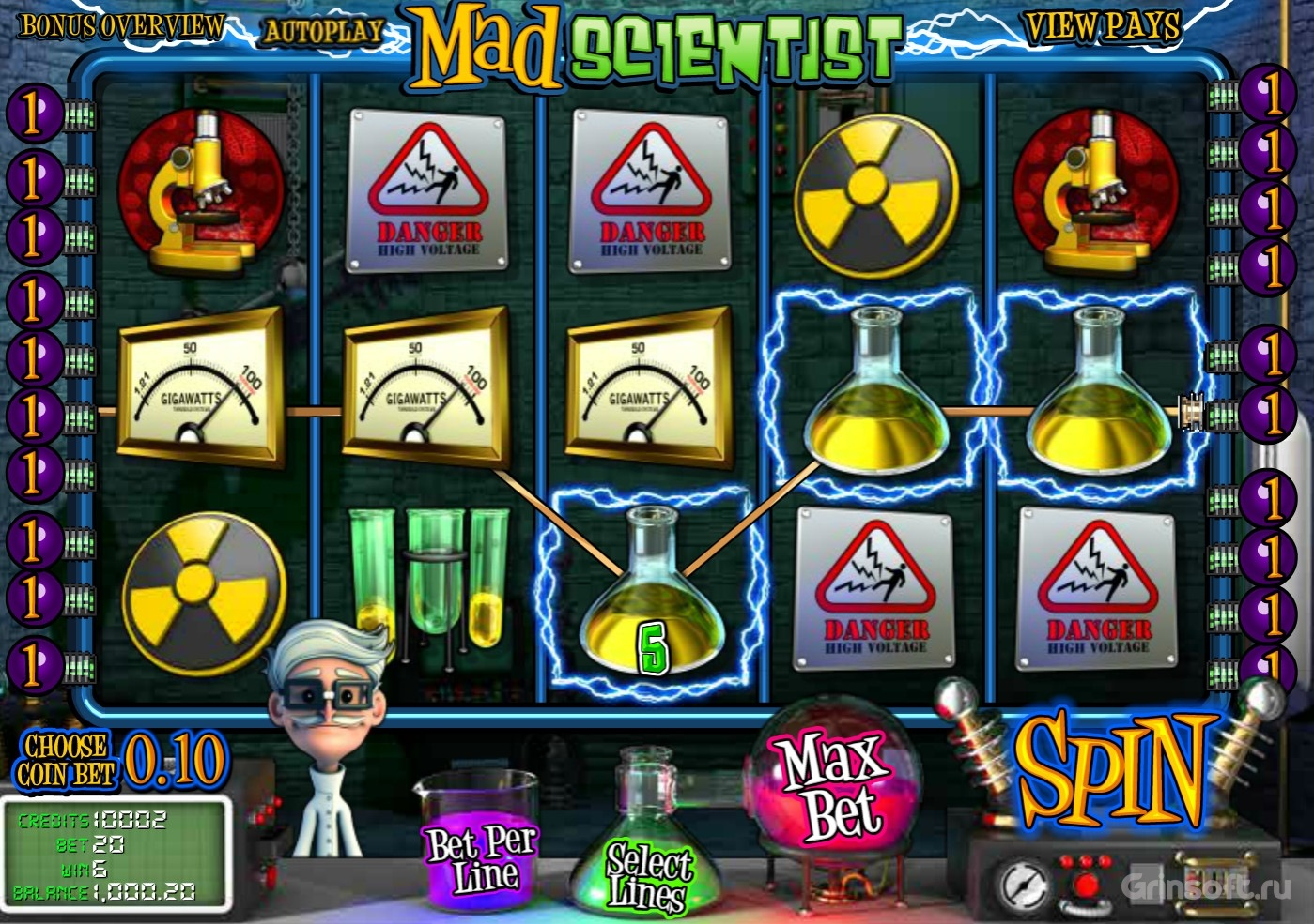 Основные бонусы автомата Mad Scientist в казино Вулкан